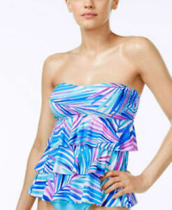 Island-Escape-Size-12-Blue-Pink-Print-Tiered-Tankini-Swimsuit-TOP-with-Strap-NWT