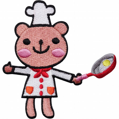 Sew On Patch Hat Jacket Teddy Bear Frying Egg Pan Badge Chef Embroidered Iron