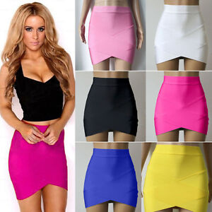 Women Sexy Bandage Bodycon Club Tight Pencil Mini Skirt Wrap Dress ...