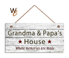 GRANDMA AND PAPA'S HOUSE Sign, Where Memories Are Made, Weathered 5x10 Sign