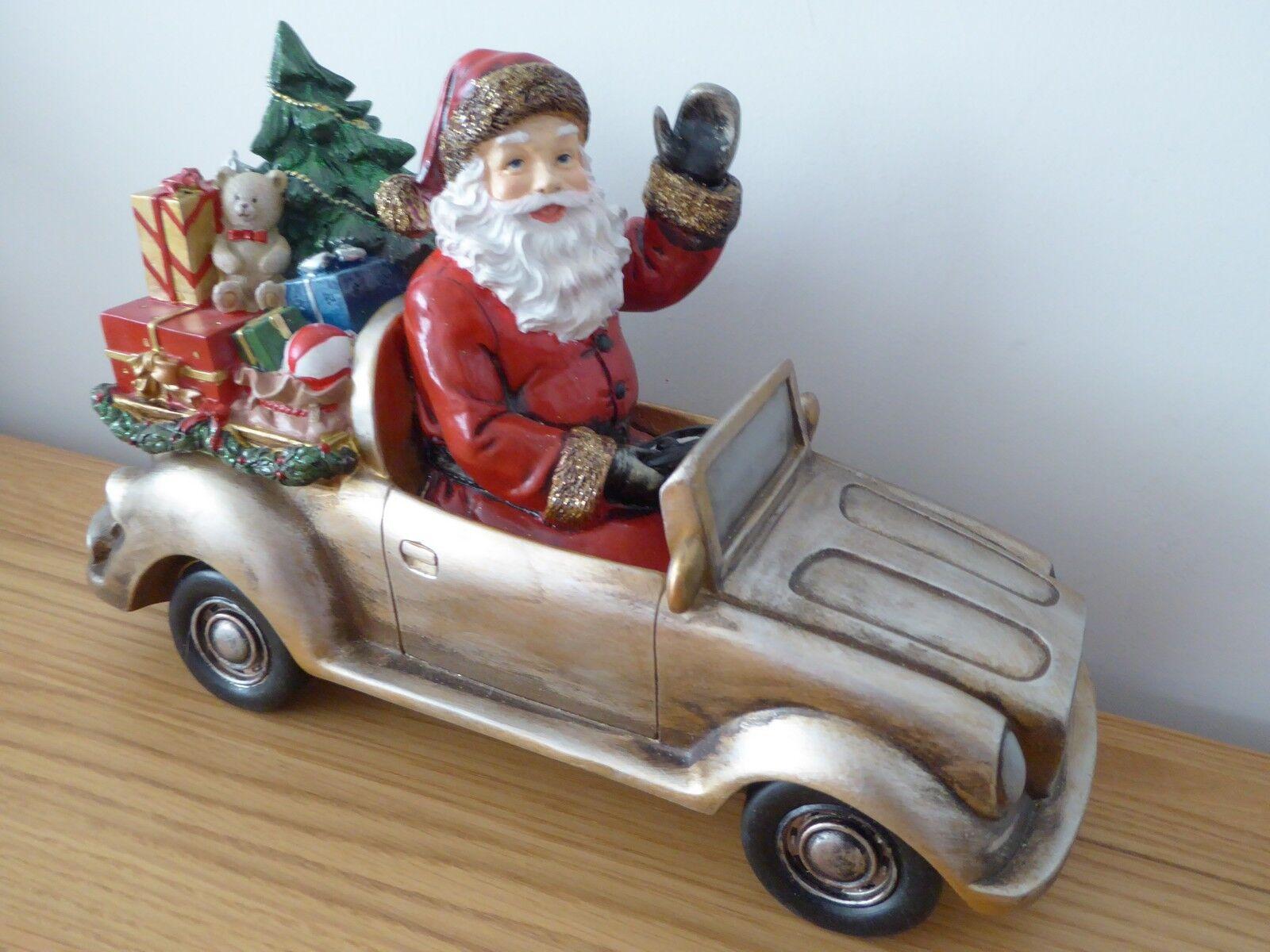 Venta 31cm resina ornamento de oro brillo brillo brillo Santa Coche Navidad Decoración de Navidad 187957