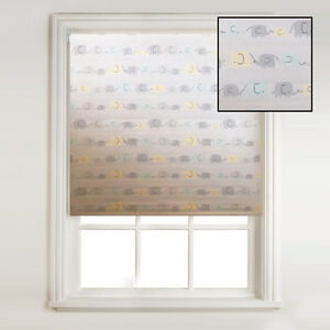 Image Is Loading Pastel Elephants Grey Thermal Blackout Roller Blind Children