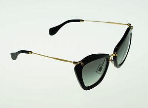 1180fd01a46 NEW Authentic MIU MIU Noir Family Gloss Black Cat-Eye Sunglasses SMU ...