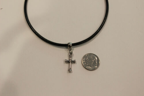 x design charm adjustable retro Black Leather Cord Choker Necklace with cross
