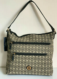 NEW-TOMMY-HILFIGER-BLACK-NATURAL-BUCKET-HOBO-PURSE-SHOULDER-BAG-79-SALE