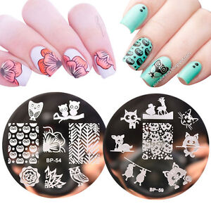 2pcs-set-Born-Pretty-Cat-Owl-Pattern-Nail-Art-Stamping-Template-Image-Plates