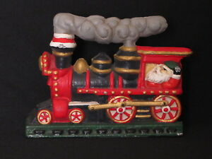 Christmas Train Cast.Details About Vintage Cast Iron Christmas Train Doorstop Door Stop Santa Claus Engineer