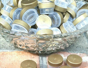 100 Empty Sample JARS Gold LID Caps Tops #3301 Plastic Container DecoJars USA