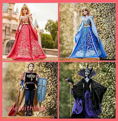 DISNEY Limited Edition SLEEPING BEAUTY Pink Blue Aurora Maleficent Phillip DOLLS