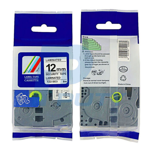 Black on White Security Label Tapes Compatible for Brother TZe-SE3 TZ-SE3 12mm