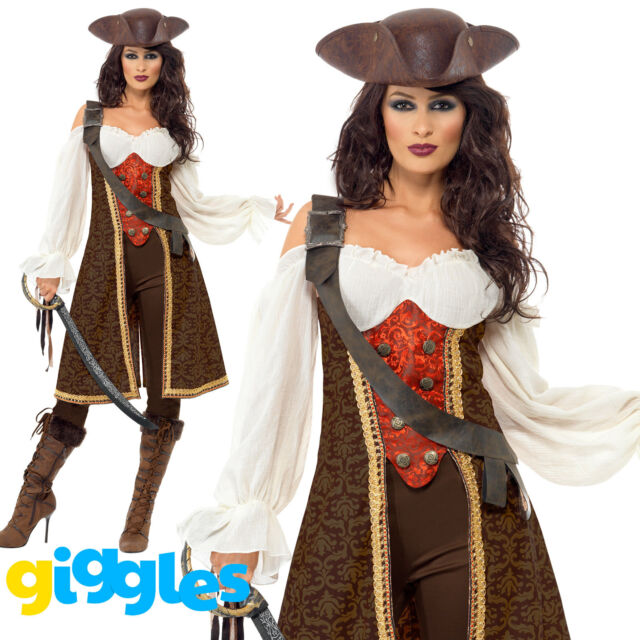 Pirate Costume Womens Ladies Halloween High Seas Wench Sexy Fancy Dress Outfit