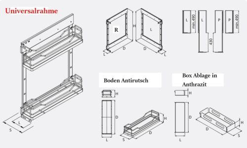 Ablage für Auszugsrahmen BOX zum einhängen Farbe Anthrazit