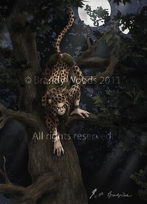 Furry ANTHRO cheetah werecheetah gothic dark fantasy art print GD Brandy Woods
