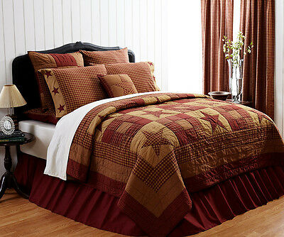 NINEPATCH STAR 3pc Full Queen QUILT SET : RED BROWN TAN RUSTIC PRIMITIVE PLAID
