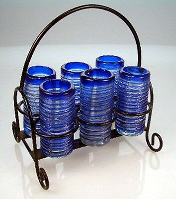 Mexican tequila SHOT Glasses, with hand blown with metal display rack