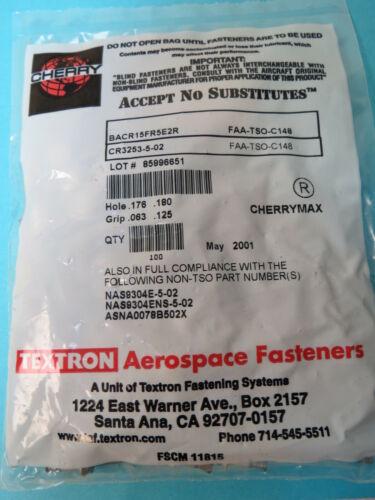 100 ea CR3253-5-02 Cherry Max Textron Aerospace Aircraft Rivets NAS9304E-5-02