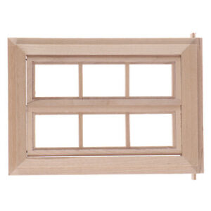 1-12-Dollhouse-Miniature-Wooden-6-Pane-Frame-and-Glass-Plate-DIY-Accessor-giPT