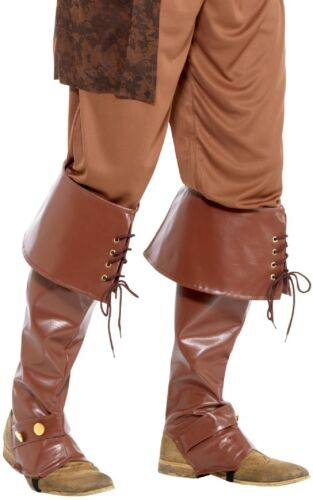 Mens Deluxe Pirate Brown Long Boot Covers Fancy Dress Costume Outfit Accessory