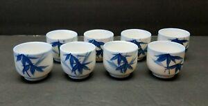 Vintage-Porcelain-Bone-China-Blue-White-Japanese-Sake-Tea-Cup-Set-Hand-Painted