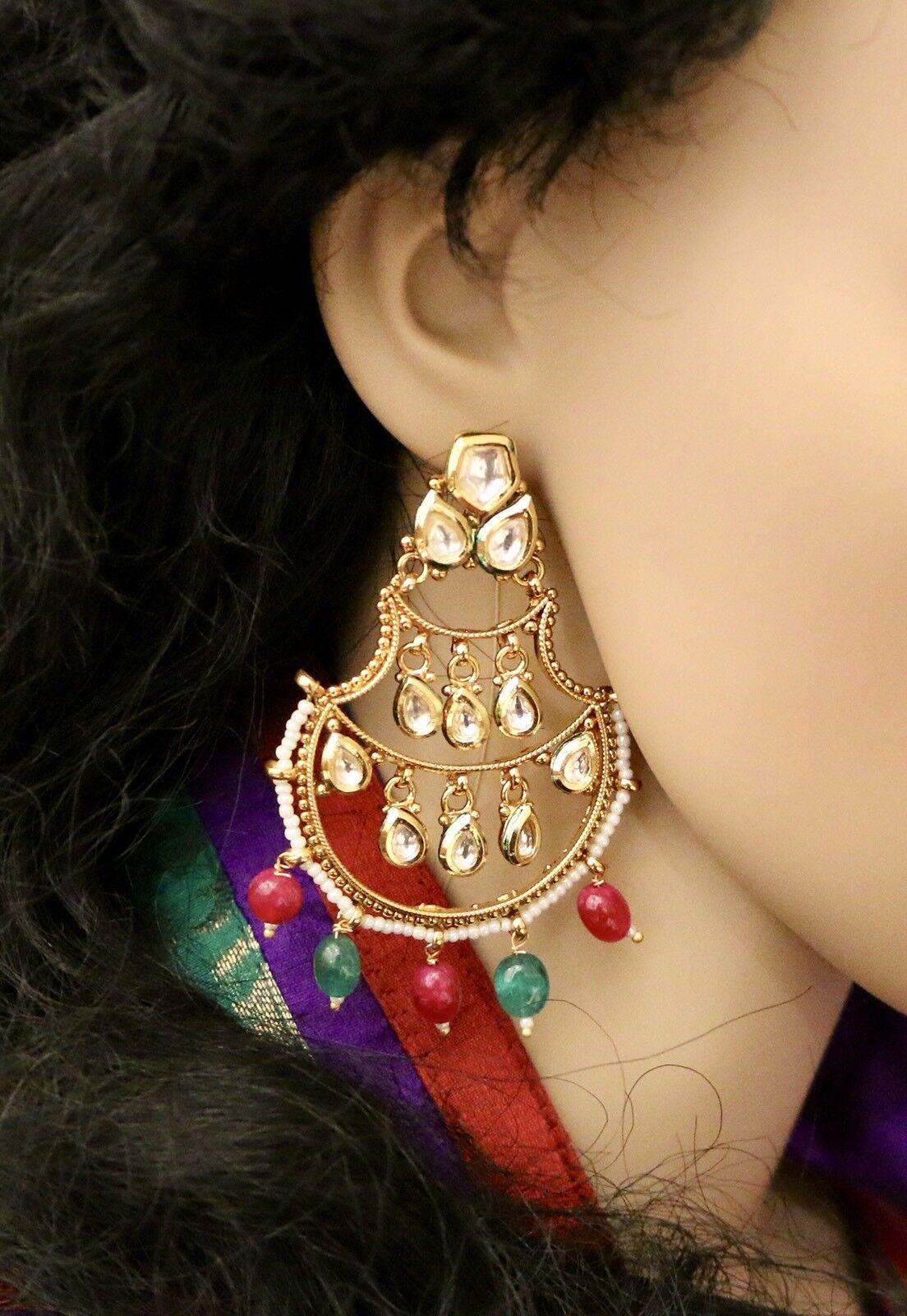 High Quality USA Indian Pakistani Bollywood White Kundan Pearl Earring Jhumka