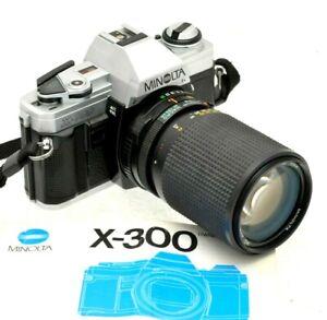 Minolta-x-300-amp-Minolta-35-105mm-Zoom-Lens-35mm-Filmkamera-Student-Starter