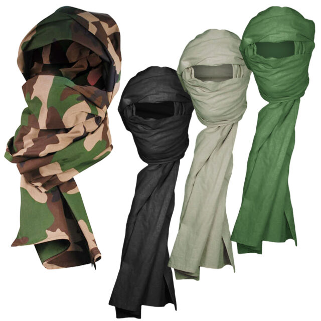 Mens Army Combat Military Snood Neck Scarf Sniper Wrap Head Shemagh Hat Black