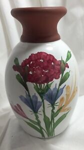 Floral-Wildflower-Vase-Emerson-Creek-Redware-Enameled-Pottery-Urn-Collectible