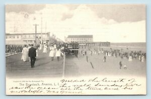 Arverne-Long-Island-NY-c1907-BOARDWALK-amp-BEACH-SCENE-POSTCARD-U3