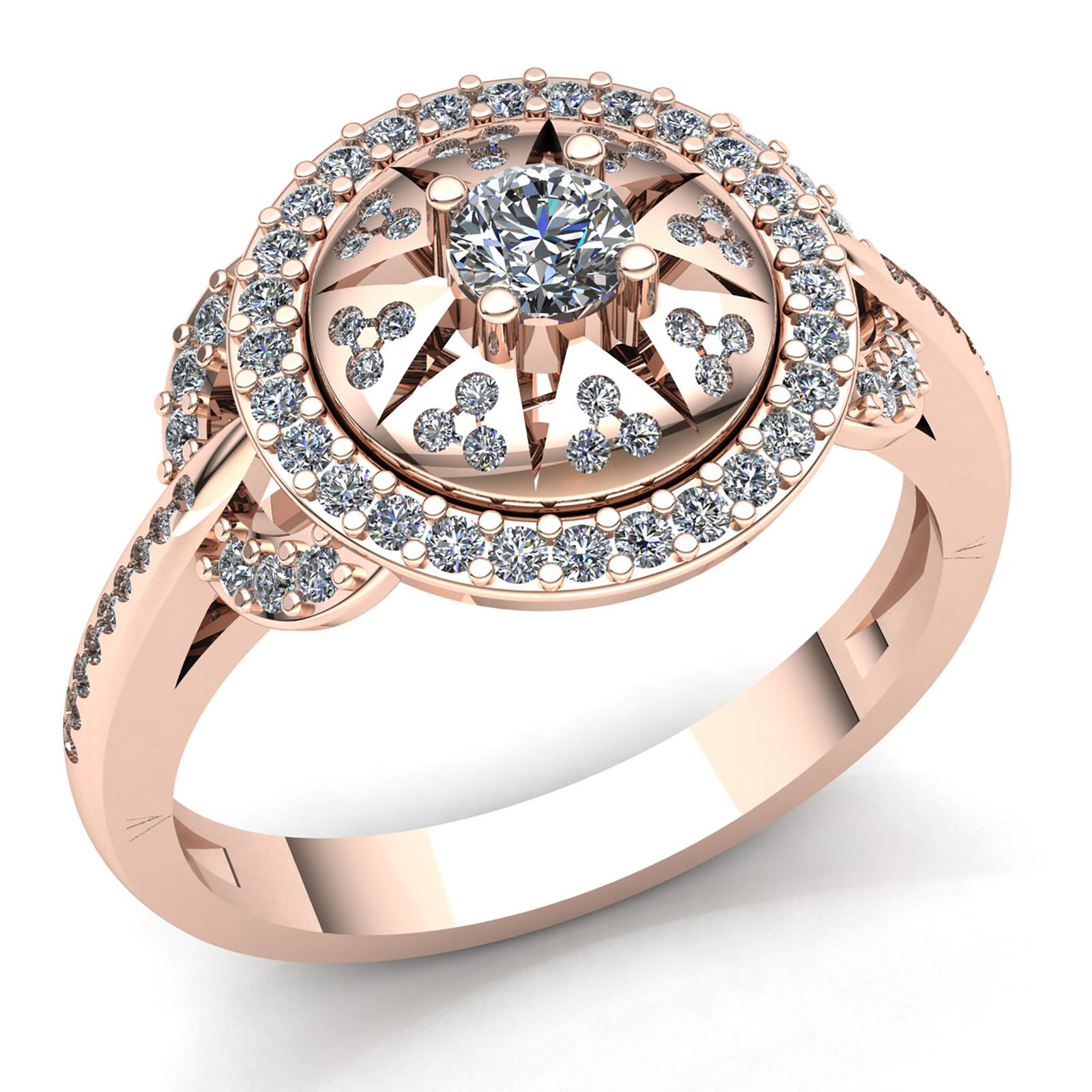 Natural 1ct Round Cut Diamond Ladies Bridal Pave Halo Engagement Ring 10K gold