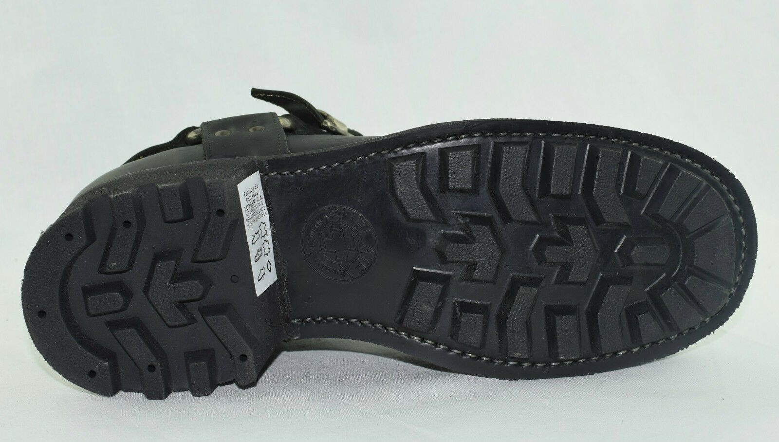 Loblan 611 Black Waxy Leather Men'S Biker Boots Classic Round Toe Handmade Bike