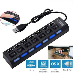 7 Port USB 2.0 Hub On//Off Switches High Speed Adapter Multi Charger Hub Laptop