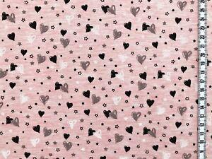 Jersey-034-Sweetheart-034-kleine-Herzen-rosa-meliert-Kinderstoff