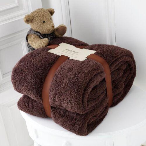 PILLOW CASE CHOCOLATE BROWN TEDDY BEAR FLEECE DUVET COVER WARM FITTED SHEET