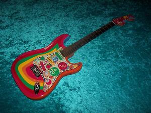 !!! Rocky Fender Guitare Stratocaster Strat Squier Peint à La Main Vintage Des-afficher Le Titre D'origine Faire Sentir à La Facilité Et éNergique