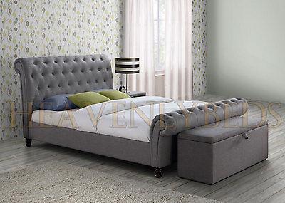Chesterfield Upholstered Sleigh Bed Frame Velvet Chenille