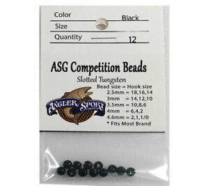25pc//set Premium Slotted Tungsten Fly Tying Beads 2.5mm-4.6mm