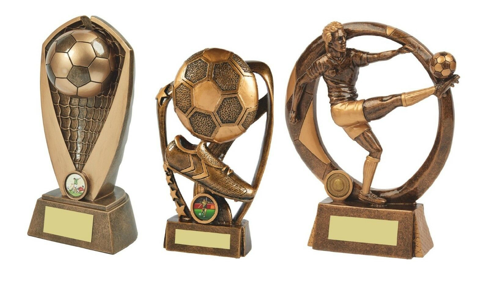 2x 10 & 1x 8 3 4 inch Football Trophy Awards engraved + posted free (RRP .40)