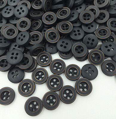 DIY 100PC Wood Buttons Sewing 4 Holes Round Black 12mm Dia Clothing accessories