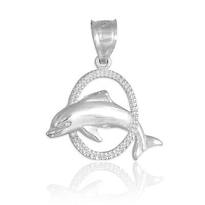 925 Sterling Silver Hoop Jumping Dolphin Pendant