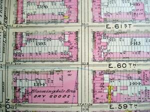 NYC Map, BLOOMINGDALES E 57st to E 68 Wall Map, LEXINGTON AVE to