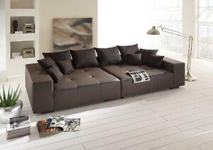 Big Sofa Couch Leder Federkern Italienisches Echtleder Xxl Mega Sofa