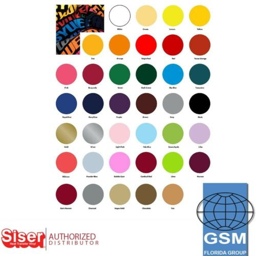 "SISER EasyWeed Heat Transfer Vinyl Material 15/"" x 1 Yards 38 great Colors"