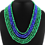 Details about  /EXCELLENT 380.00 CTS  6 LINE GREEN EMERALD /& BLUE SAPPHIRE ROUND BEADS NECKLACE