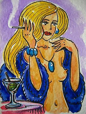 Sexy Naked Blonde Nude Woman Necklace Brasselet Sigarette Smoke Drink ACEO Art