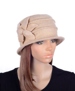 M495 Beige Women s Cute Flower Wool Acrylic Winter Beanie Hat Cloche ... b9e3e230ca2f