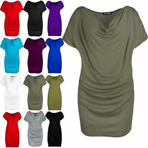Womens-Ladies-Side-Ruched-Stretchy-Gathered-Cowl-Neck-Short-Sleeve-Tee-Shirt-Top