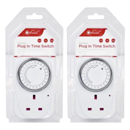 2 x vinsani plug-in 24 H segment minuterie Switch économie d/'énergie Mécanique Minuteur