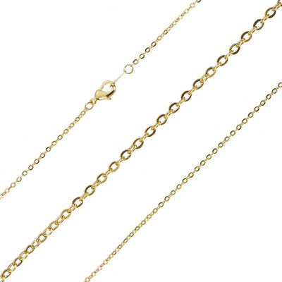 """Gold Plated Oval Link Medium Trace Chain With Bolt Clasp 18/"""" C73//5"""
