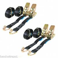 4 x 25mm 5 Meter Black 800kg Ratchets Tie Down Straps Lorry Lashing Trailer