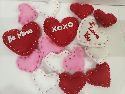 Valentines Day Hearts Felt Decorations Bowl Basket filler Decor 15 Lot of